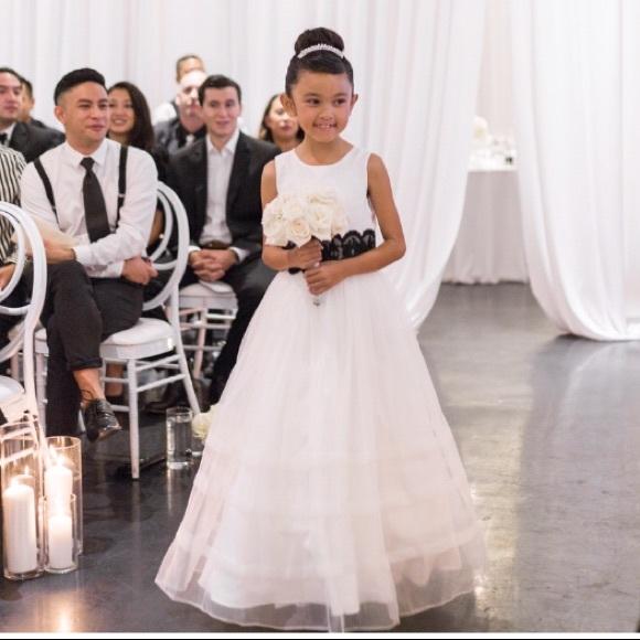 Alfred Angelo Dresses   White Flower Girl Dress Wa Black Sash   Poshmark